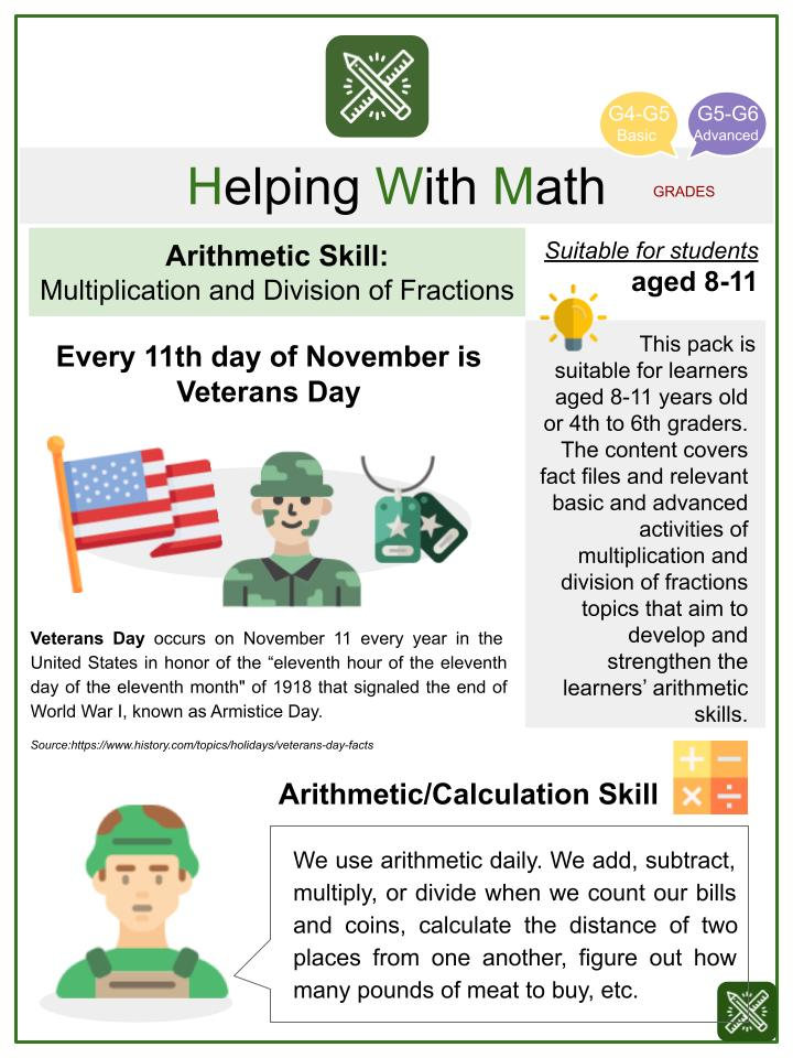 Multiplication and Division of Fractions (Veterans' Day Themed) Math Worksheets