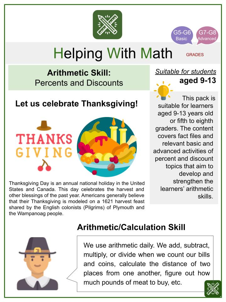 Percents and Discounts (Thanksgiving Themed) Math Worksheets