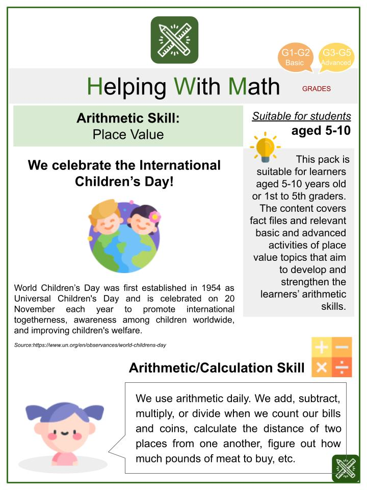 Place Value (International Children's Day Themed) Math Worksheets