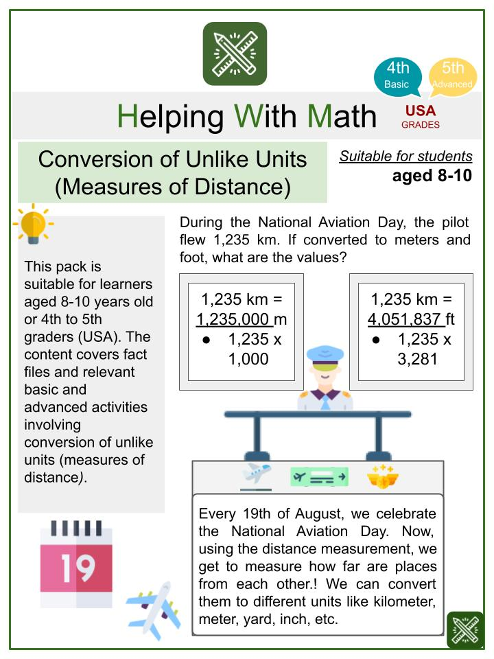 Conversion of Unlike Units (Measures of Distance) (National Aviation Day Themed) Math Worksheets