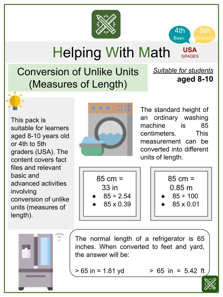 Conversion of Unlike Units (Measures of Length) (Home Appliances Themed) Math Worksheets