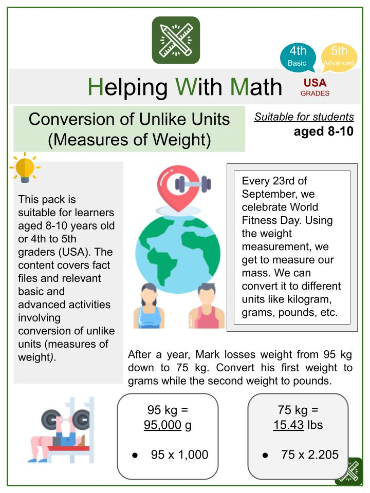 Conversion of Unlike Units (Measures of Weight) (World Fitness Day Themed) Math Worksheets