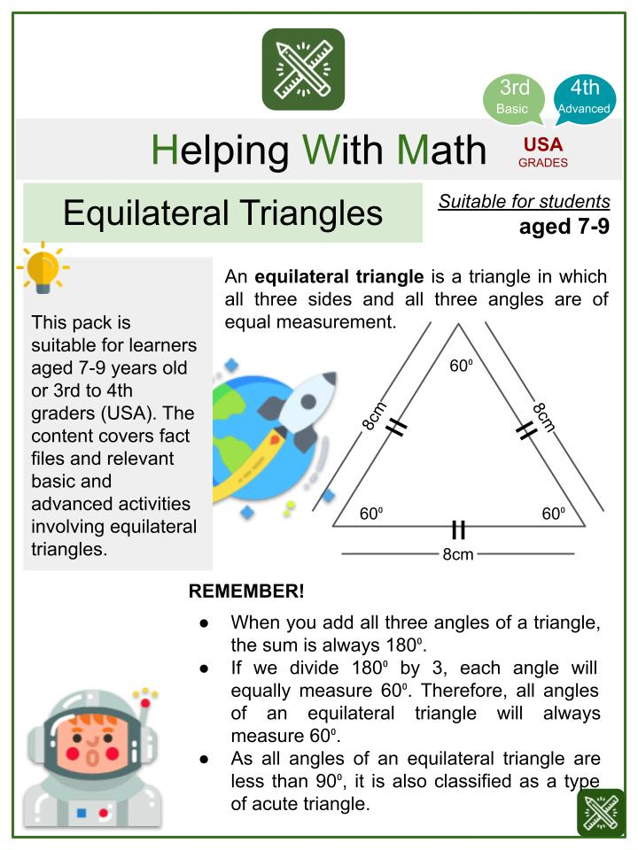 Equilateral Triangles (Outer Space Themed) Worksheets