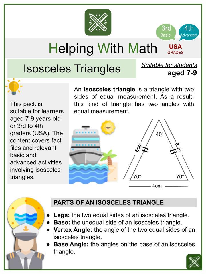 Isosceles Triangles (Holiday Cruise Ship Themed) Math Worksheets