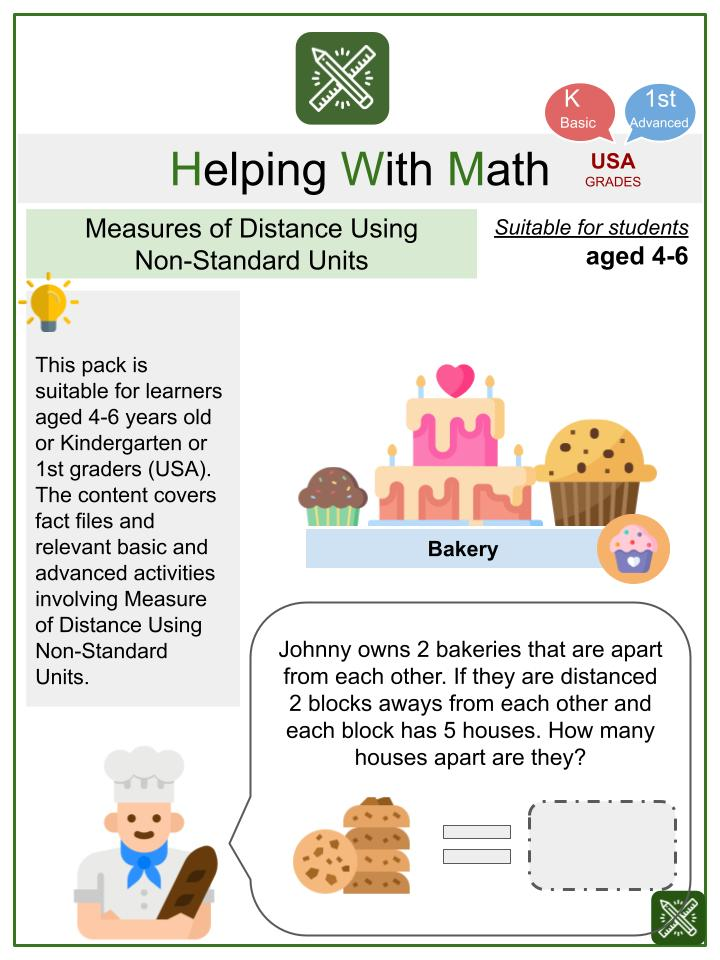 Measure of Distance Using Non-Standard Units (Bakery Themed) Math Worksheets