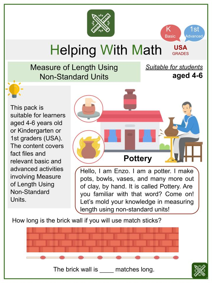Measure of Length Using Non-Standard Units (Pottery Theme) Math Worksheets
