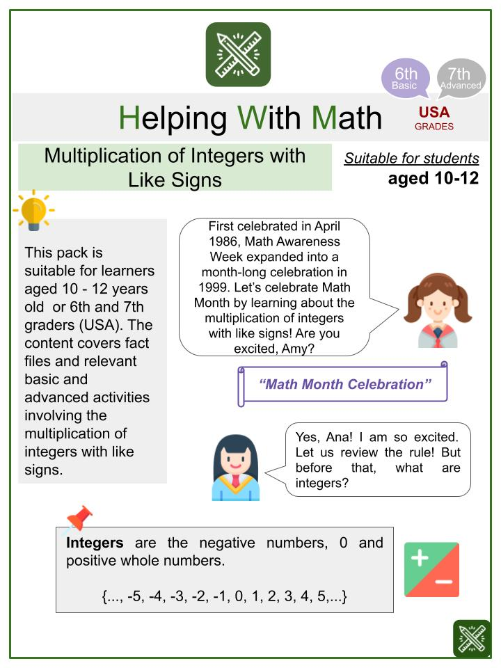 Multiplication of Integers with Like Signs (Math Awareness Month Themed) Worksheets
