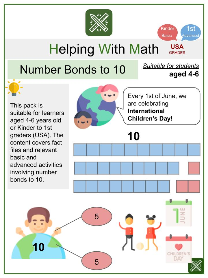 Number Bonds to 10 (International Children's Day Themed) Math Worksheets