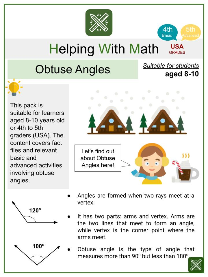 Obtuse Angles (Winter Themed) Math Worksheets