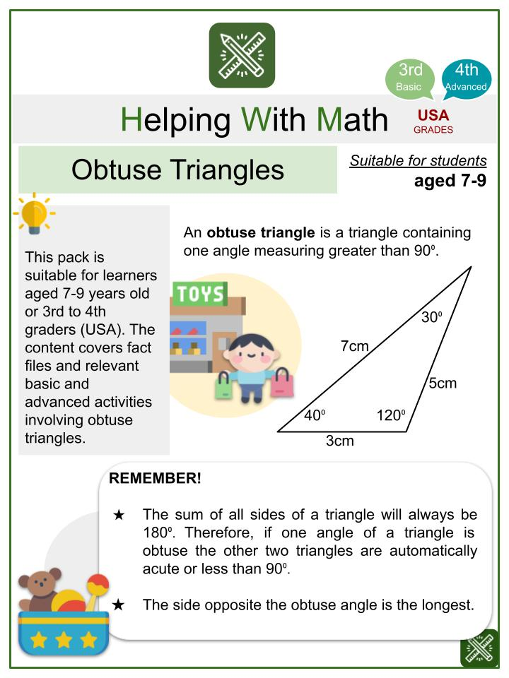Obtuse Triangles (Toy Store Themed) Math Worksheets
