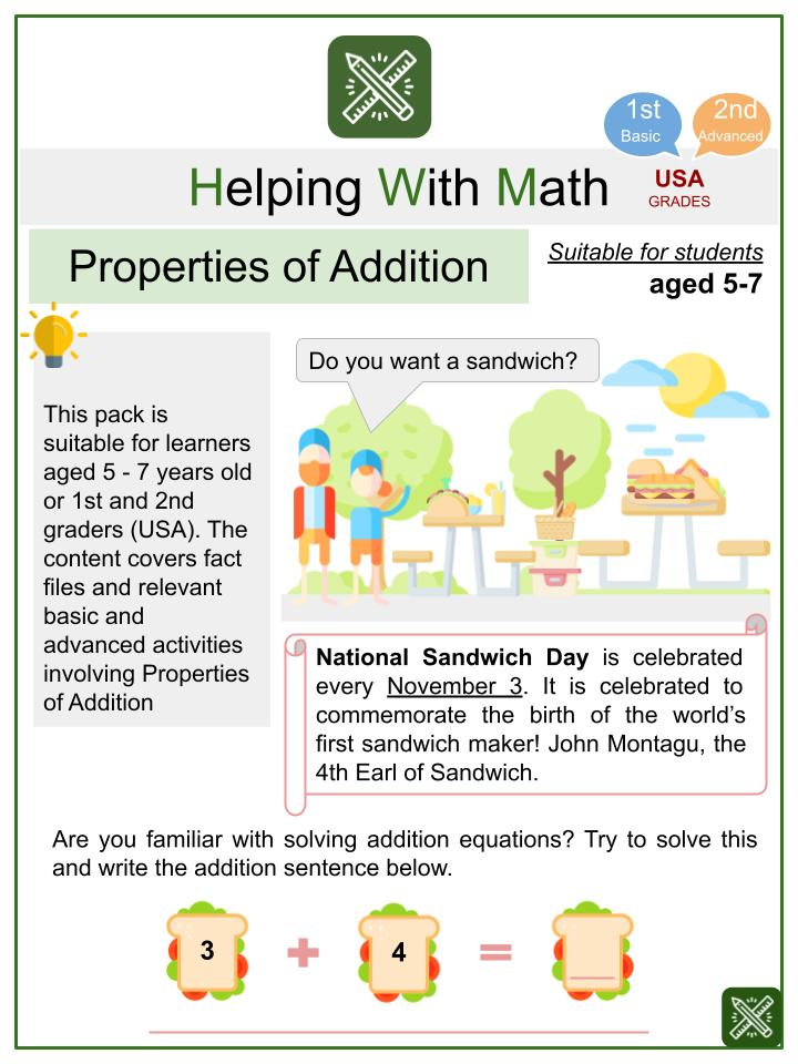 Properties of Addition (National Sandwich Day Themed) Math Worksheets