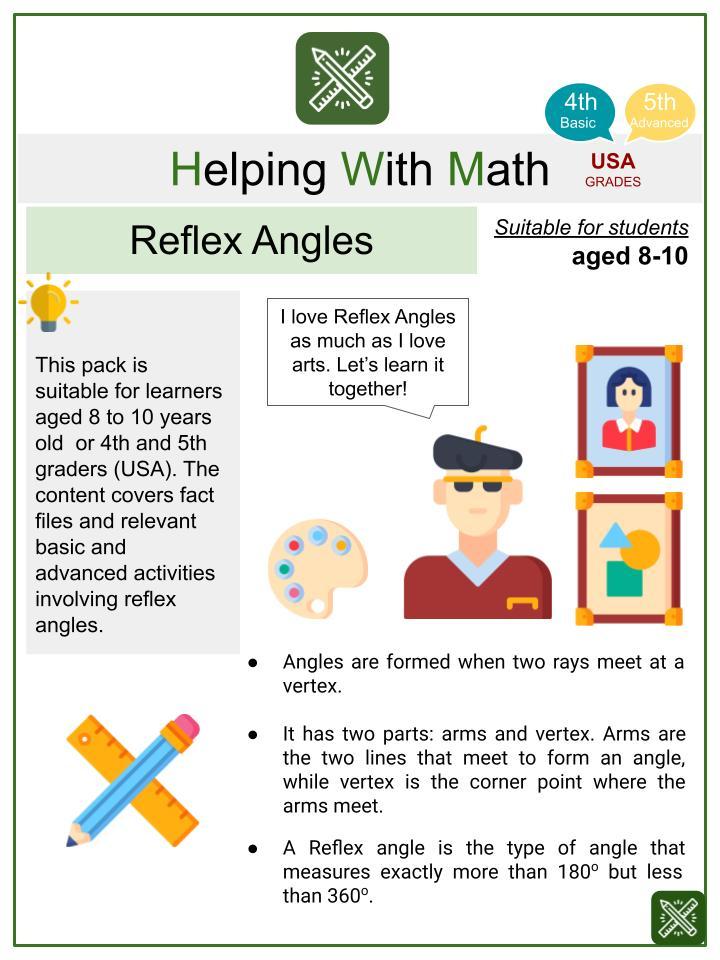 Reflex Angles (International Artists' Day Themed) Math Worksheets