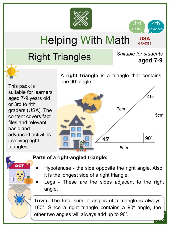 Right Triangles (Halloween Themed) Math Worksheets