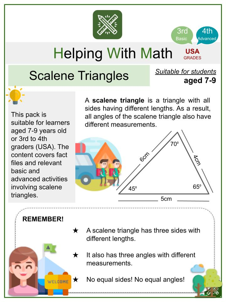 Scalene Triangles (Summer Camp Themed) Math Worksheets