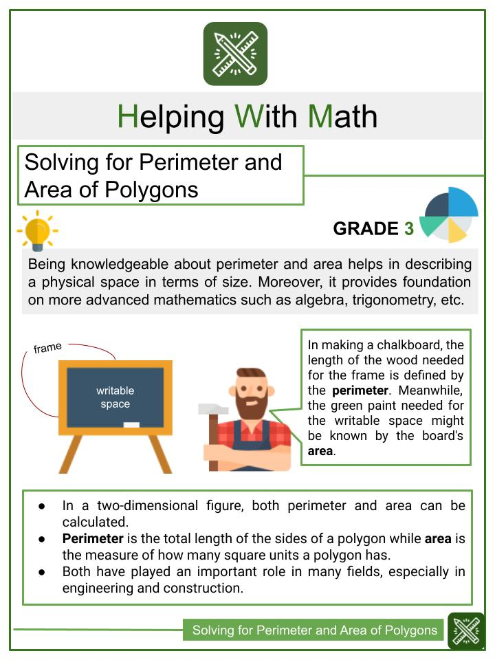 Solving for Perimeter and Area of Polygons 3rd Grade Math Worksheets