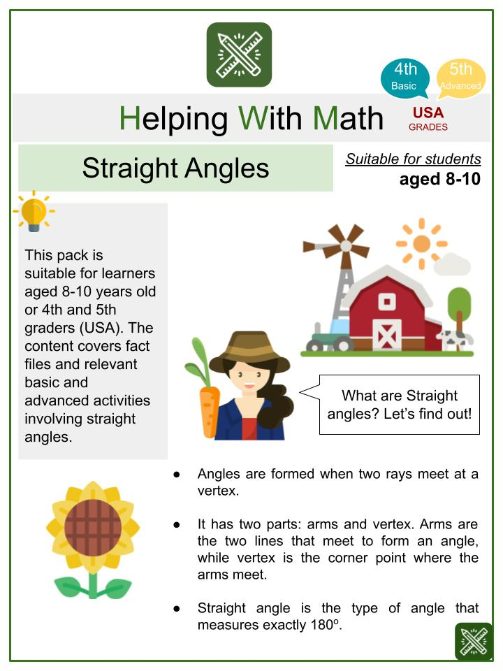 Straight Angles (Farmers' Day Themed) Math Worksheets