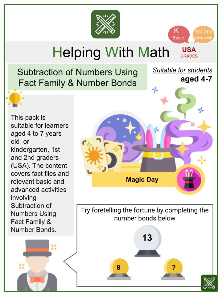 Subtraction of Numbers Using Number Bonds & Fact Families (Magic Day Themed) Math Worksheets