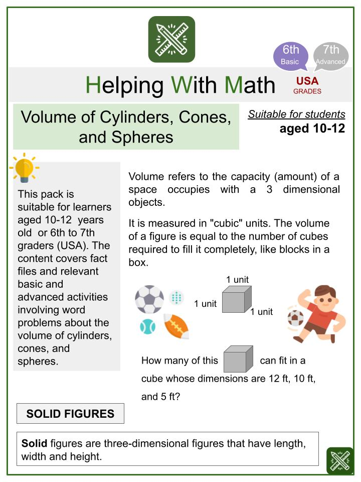 Volume of Cylinders, Cones, and Spheres (Sports Themed) Math Worksheets